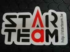 STARTEAM ステッカー中 【ブラック/レッド】65mm*110mm