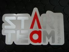 STARTEAM ステッカー中 【シルバー/レッド】65mm*110mm