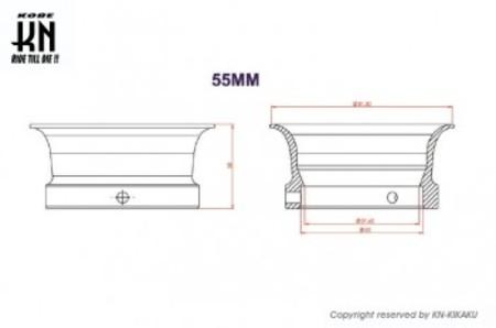 UmaRacing アルミビレットファンネル【汎用】レッド【取付内径55mm/高さ38mm】